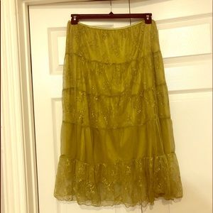 Ideology Skirts - Lace skirt over satin chartreuse fun quirky Large
